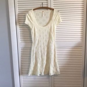Freee people cream lace fit and flare dress